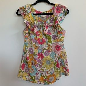 NWOT Liberty Floral Top with Ruffle Neck Detail
